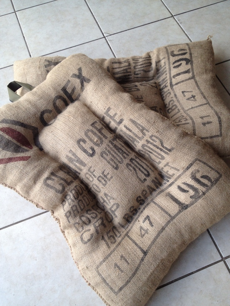 """pet cushions"" made from recycled coffee bags. Linda think about it for ""This is Puppy Love"""