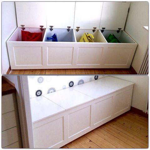 Källsortering förvaring kombinerat med sittbänk. #källsortering #möbel #vit #finesse #smart #furnituredesign #furniture #interhem #habo #skräddarsyttbarafördig