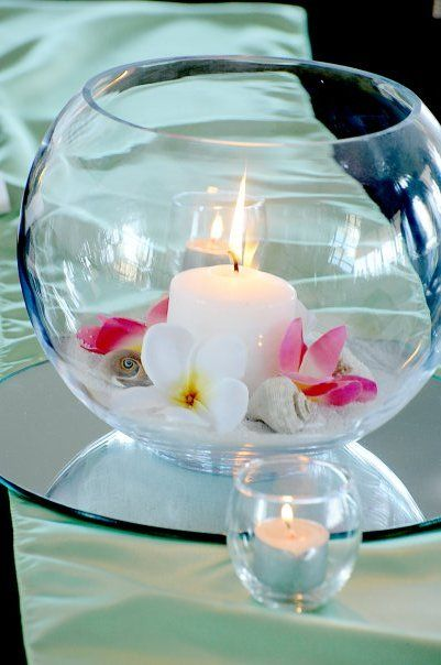 Simple fishbowl sand candle and flowers & 45 best Fishbowl Wedding Centerpieces images on Pinterest | Fish ...