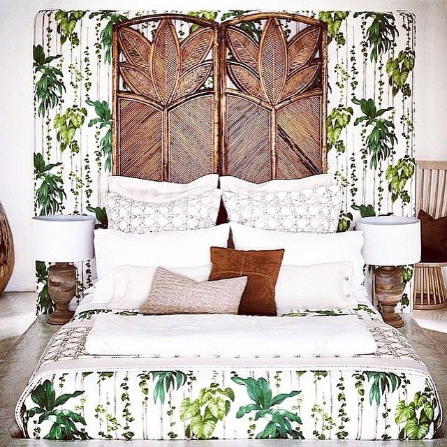 Tropical, west indies look, ethnic, rattan screen as headboard, palm print, caning bedding