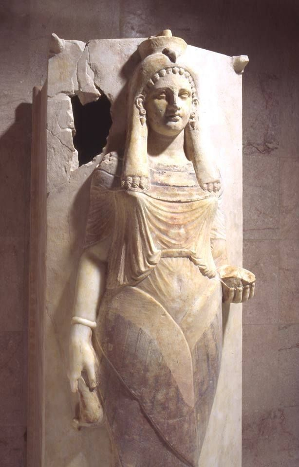 Sarcophagus of a priestess, marble, 3rd/4th century B.C.E., Carthage, Musée National de Carthage.