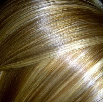 Blond hair with copper highlights