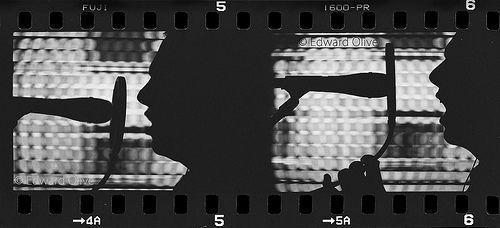 35mm strip at work doing voiceovers - Edward Olive actor en Madrid locutor ingles britanico nativo España