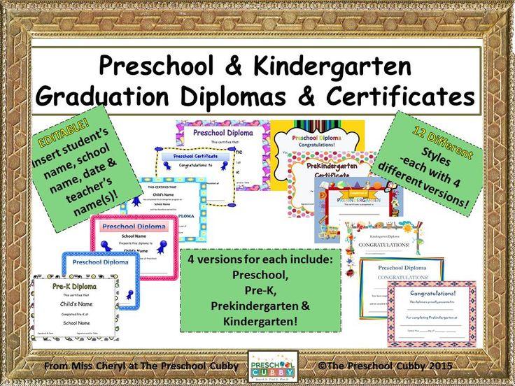 Preschool Graduation Diplomas and Kindergarten Diplomas!  12 styles each with 4-5 varieties.....that is 50 diplomas for $5.00!  Read more here!