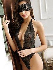 Feminino Lingerie com Renda Super Sensual Conjunto Roupa de Noite,Sensual RendasFino Renda Poliéster Vermelho Preto