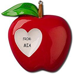 Personalized Apple for You Teacher Christmas Ornament