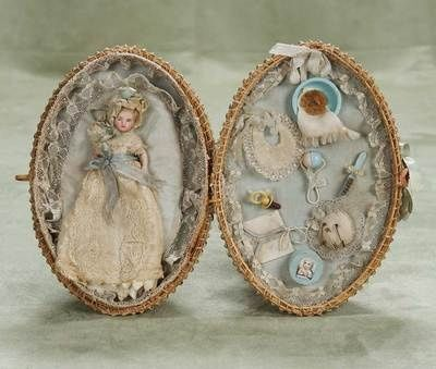 Antique 19th century doll basket with miniature doll and clothes ❤