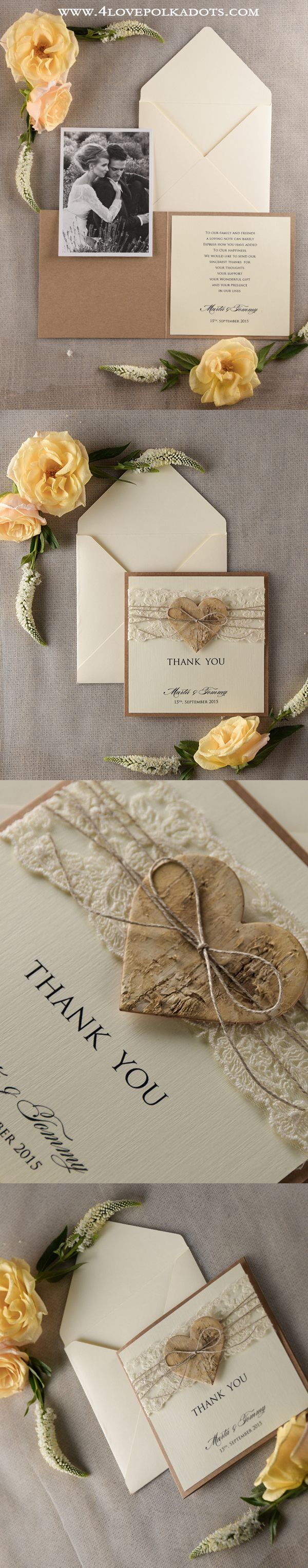 Wedding Thank You Cards - with lace and birch bark heart #weddingideas #romanticwedding #rustic #country