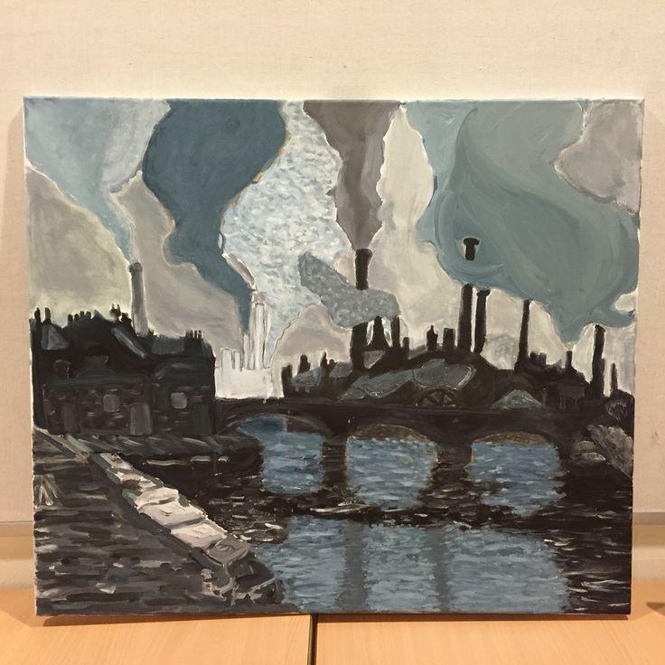 Søren har malet industri inspireret af foto fra engelsk industriby fra omkring 1920