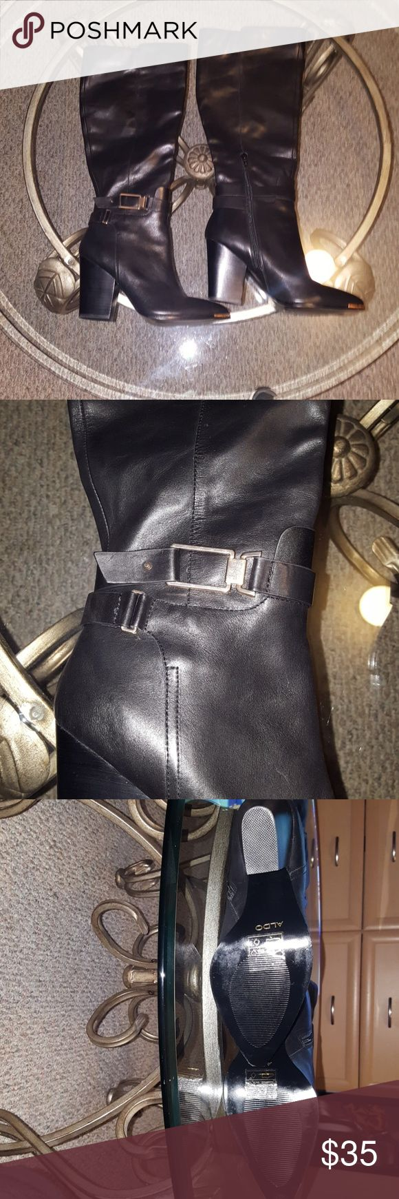 Aldo Knee High Boots Price: $35 or best offer  Description:? New amazingly cute, leather knee high Aldo boots with gold buckle around the ankle and gold detail at the toe.? The heal is 4? and heal to top measures 21? with half zip along each side.? Only worn once.? Aldo Shoes Heeled Boots