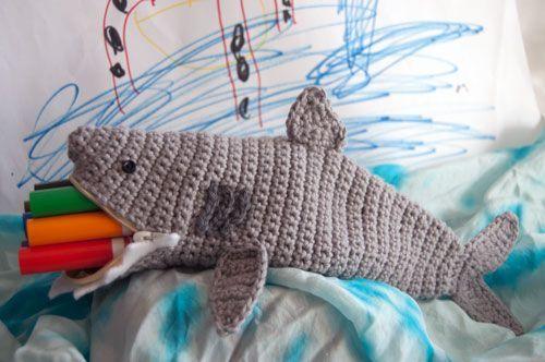 Shark Time Pouch - free crochet pattern!