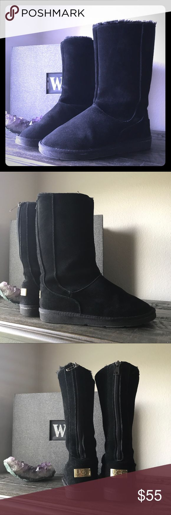 Black Uggs Great condition - just lost the zipper. See safety pin. Fitz up to 8.5. UGG Shoes