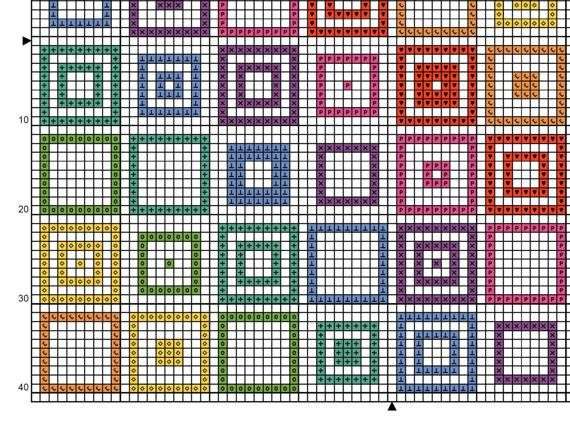 Welcome! Available here is this original cross stitch chart which will be made available to you immediately after purchase. Youll be able to download and keep the files. This original design of eye-catching rainbow coloured squares uses whole cross stitches only. I suggest you