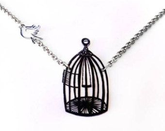 Free Bird -- Two Parts -- Pendant Necklace, Shrink Plastic Jewelry -- Gift box included