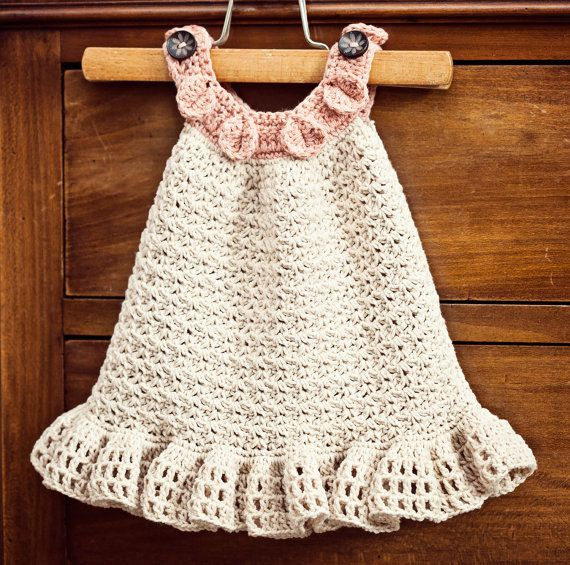 Instant download - Dress Crochet PATTERN (pdf file) - Halter Ruffle Dress (sizes up to 5 years) via Etsy