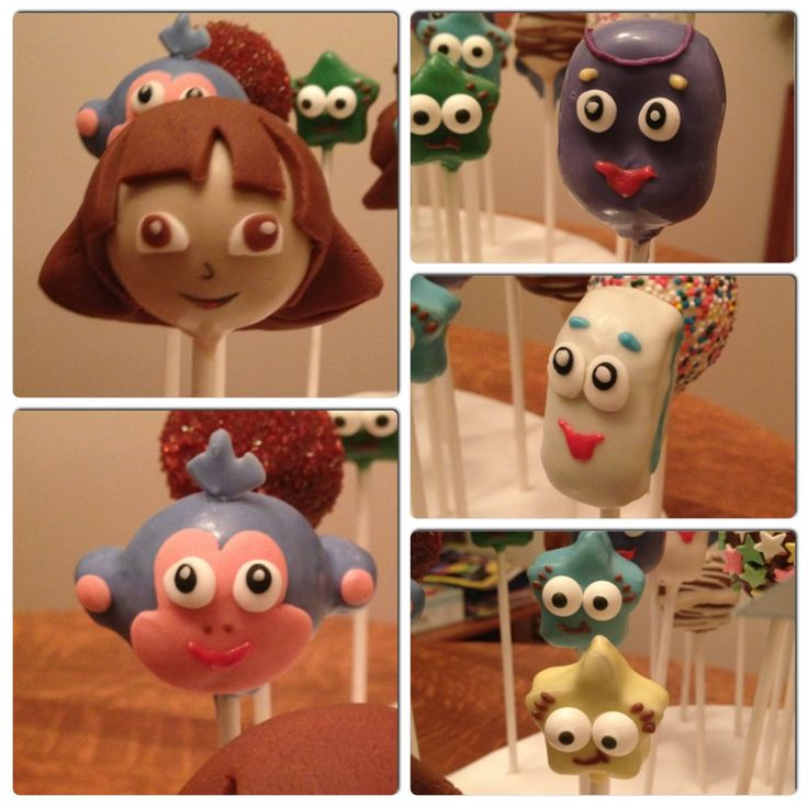 Dora And Boots Cake Pops