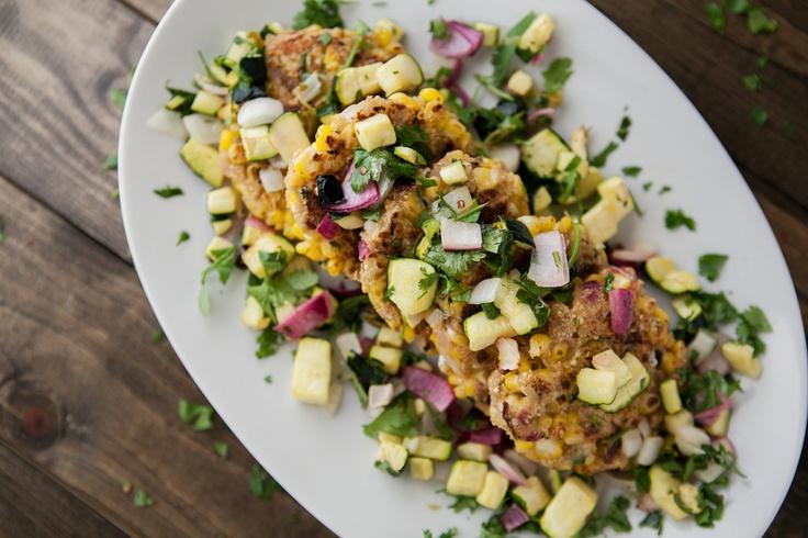 Corn Cilantro Cakes with Roasted Zucchini Salsa | Recipe