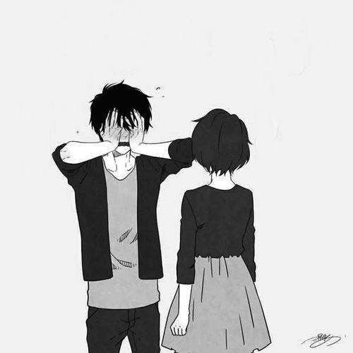 Manga couple. .anime couple. .cute ..blushing. .black and white