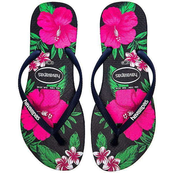 Havaianas Slim Floral Flip Flop Shoes found on Polyvore featuring shoes, sandals, flip flops, flower pattern shoes, rubber sandals, havaianas, floral printed shoes and havaianas sandals