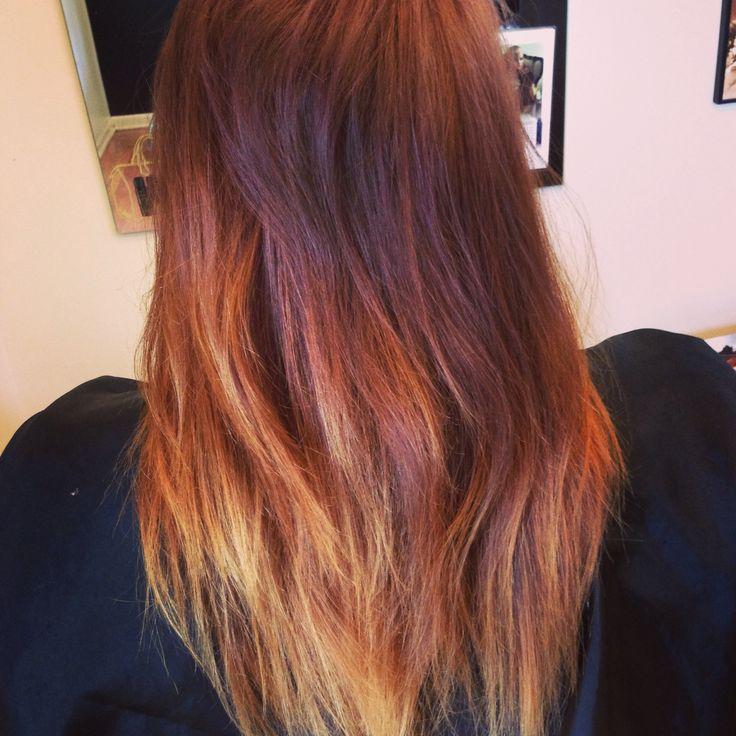 auburn to blonde ombr233 hair pinterest