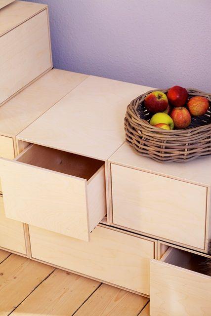 Brick box - kan bygges til reol/skuffer eller bænk/briks med hynder