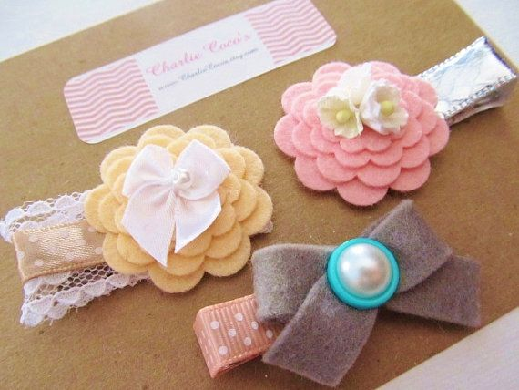 Baby/Girls Felt Flower and Bows Hair Clip Set, Unique Hair Accessories for Baby, Toddler, Girls. Easter/Spring Hair Clips