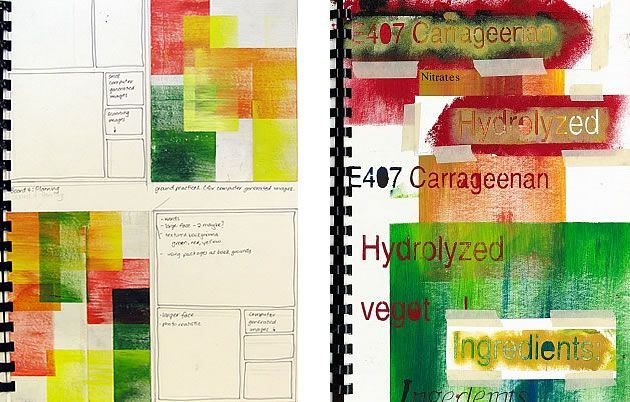 A Level Art sketchbook ideas: a mixed media collage and painting, experimenting with stencils and integration of text.