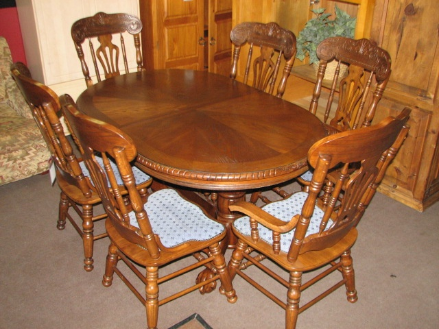 Imported From Belguim This Elegant Oak Dining Set Features A Patterned Veneer Top Carved