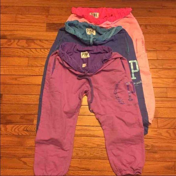 3 victoria  secret sweatpants So cute! Great price! Also do bundles! PINK Victoria's Secret Pants