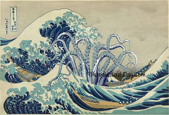 TENTACLES Poster HOKUSAI Great WAVE Off Kanagawa by ParodiesLost. Could be a future computer wallpaper.