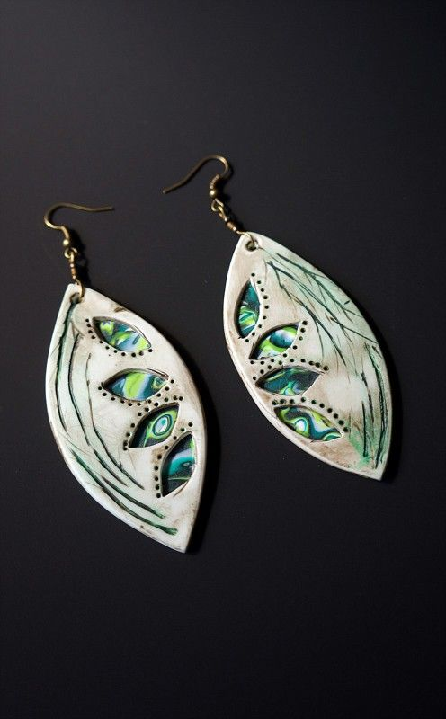 Carved and painted polymer clay earrings              Kristina Normante