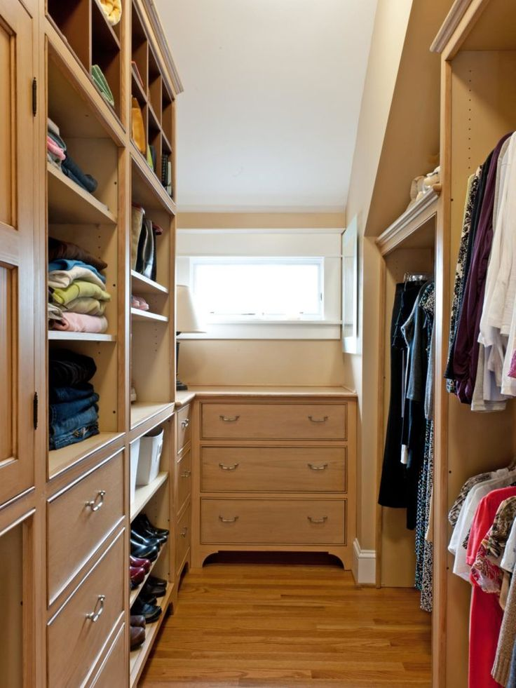 Traditional Dresser Below Fixed Window Feat Floor To Ceiling Wall Storage Unit In Small Walk In Closet Design