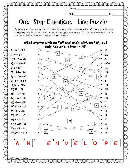 Solving One Step Equations Worksheet Puzzle One Step Equations Equations Multi Step Equations Worksheets