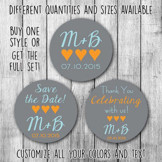 3 hearts full set printable wedding custom stickers by mycustomwedding on etsy the