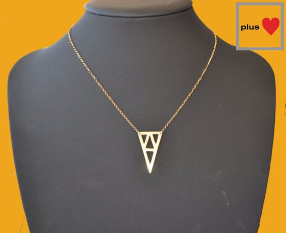 Mix Triangle No.1 Gold plated Silver Silver by PlusLoveStudio - 38.00euro