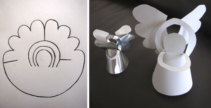 An angel made of paper and without any glue.  TEMPLATE  Ein Engel aus Papier und ganz ohne Kleber.  VORLAGE