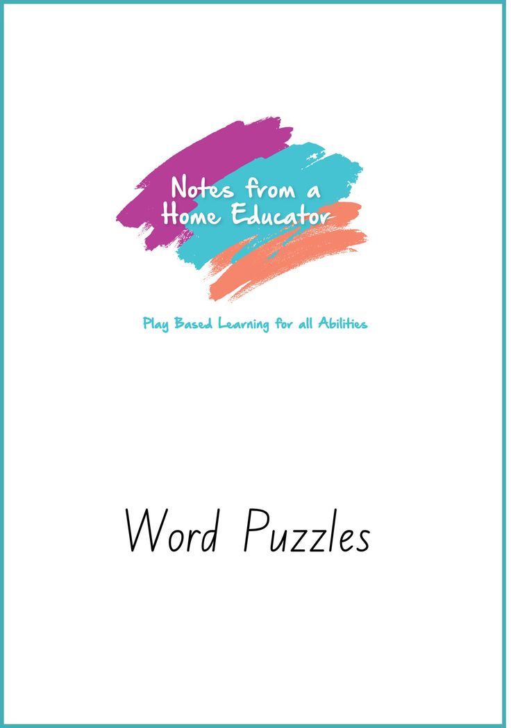 Word Puzzles - Printable – Notes From a Home Educator