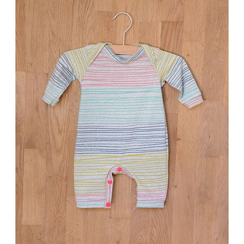 Two Stitches Babygrow Onesie Sewing Pattern - A baby basic, using fun jersey prints or classic solids with a contrast trim, this sweet onesie includes snap fasteners on the gusset that open completely, and a soft neckline for quick and easy access and comfortable wear.  ::  $7.50
