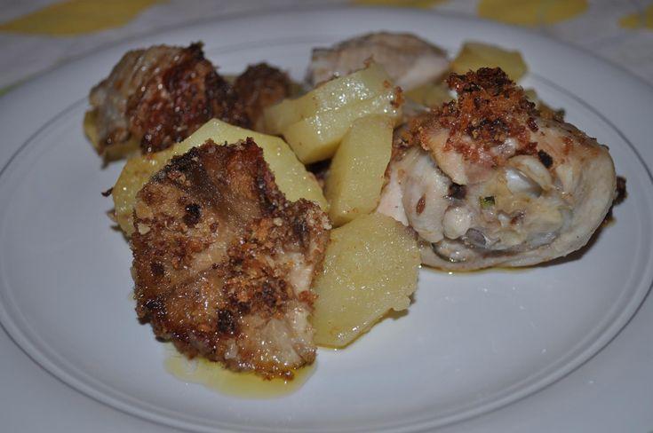 pollo e patate con funghi gratinati