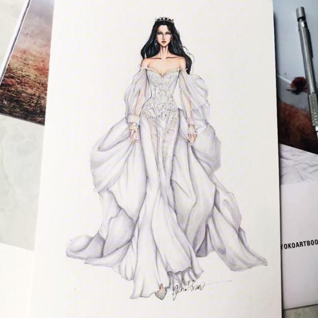 Perfect illusion with @galialahav wedding dress #sketch #sketching #draw #dress #drawing #bridal #weddingdress #fashion #fashionsketch #fashionsketching #fashionillustrator #fashionillustration #fashiondrawing #fashionart #art #artwork #instaart #illustration #illustrator