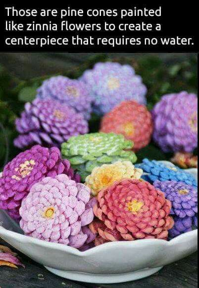 Pinecone zinnias for spring would also look lovely painted in fall colors ...
