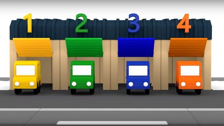 Spanish Cartoons. 4 coches coloreados. Maria y el Autobús número 5. Cari...