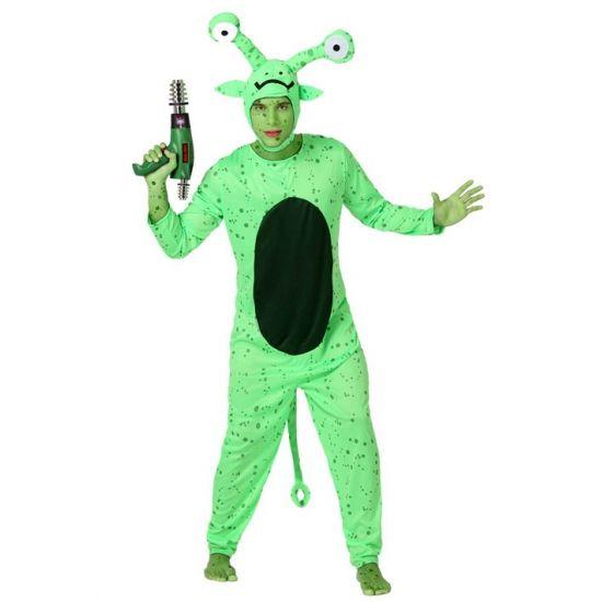 Groen alien kostuum voor volwassenen. Compleet buitenaards wezen kostuum voor volwassenen met losse capuchon. Carnavalskleding 2015 #carnaval