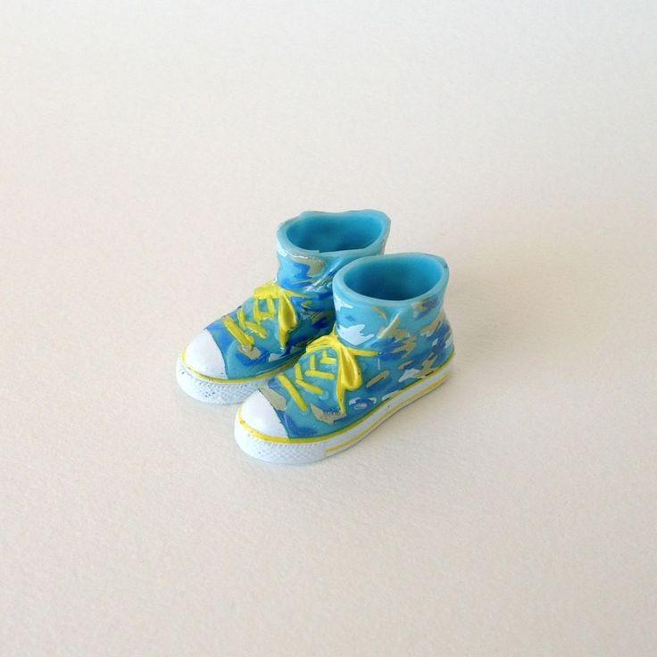 RARE Takara Blythe Doll Stock Shoes - Blue Cameo Converse Boots Shoes #Takara #ClothingAccessories