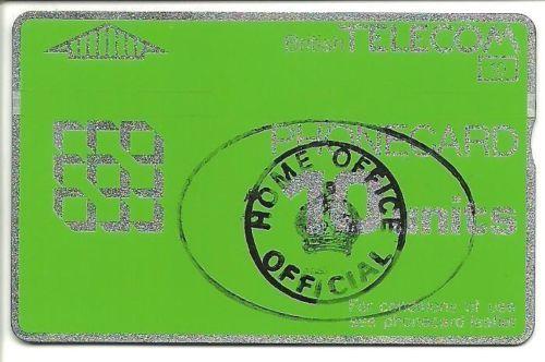 10u BT Phonecard for use in Ford Prison with Official Home Office stamp