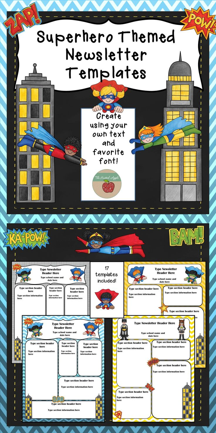 Seventeen editable newsletter templates with a superhero theme!