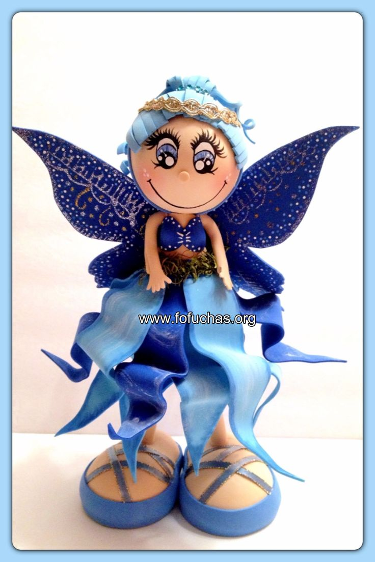 Cielo is a Fairie  fofucha doll. Stands at 12 inches. Handmade using foam sheets.Perfect collecting doll for A fairie fan. She can also be used as a centerpiece at your child's Fairy theme party. Or even as a caketopper. I can make other Colors or personalized. Like us on facebook.com/fofuchashandmadedolls #fofuchas #fairie #foamdoll