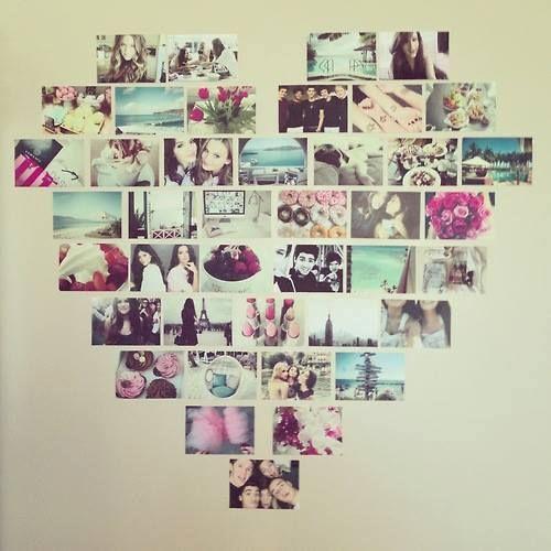 criatividade na hora de montar o mural de fotos ♥