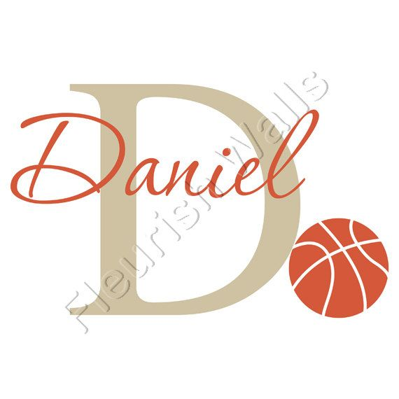 Personalized Basketball Wall Decal - Sports Theme Initial & Name Wall Decal for Boy Baby Nursery Room Vinyl Wall Art 22H x 36W BN022 on Etsy, $36.95 - Toby's room