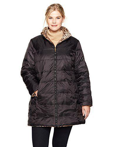 15e11d488ac Jones New York Women s Plus Size Faux Fur Reversible to Down  Plus size  leopard print faux fur reversible to down coat with turn back cuff